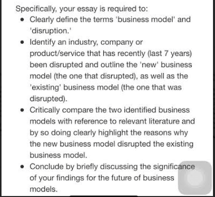 business model   disruption   essay writing assessment answer business model