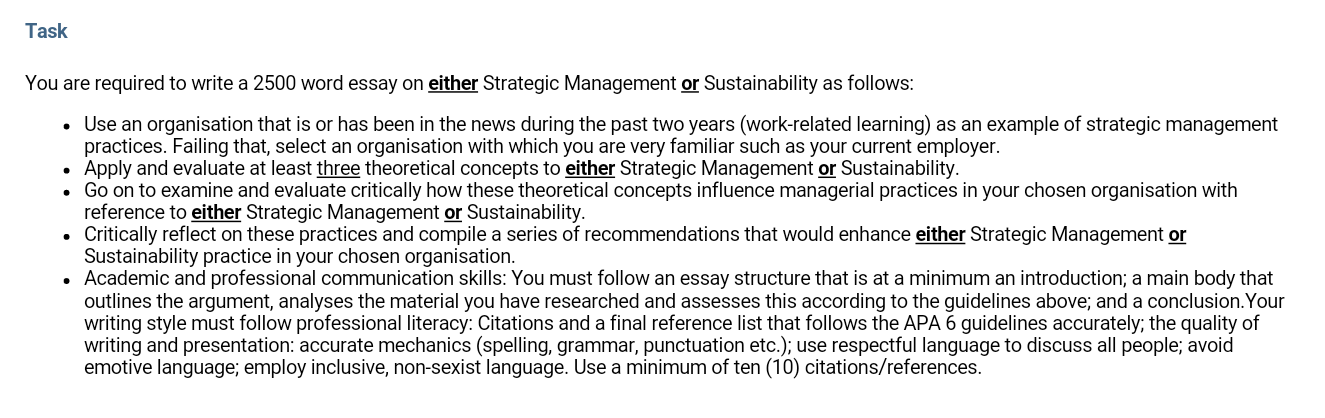 An Essay On English Language  How To Use A Thesis Statement In An Essay also English Essay Story Strategic Management  Sustainability  Essay Assessment Answer High School Essays Examples